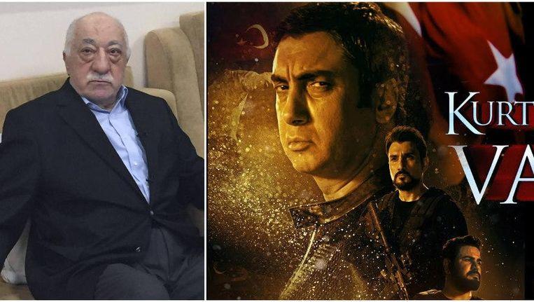 'Kurtlar Vadisi: Vatan' gaat over de staatsgreep van vorig jaar in Turkije. De slechterik heeft alle trekken weg van Fethullah Gülen (links), grootste vijand van president Erdogan. Beeld Photo News & RV