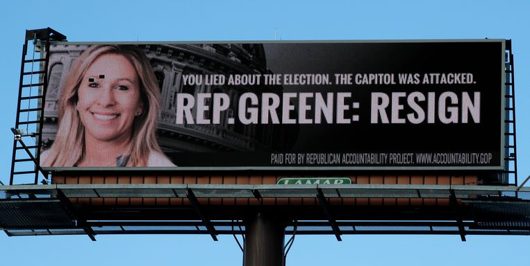 An LED billboard calling for the resignation of Rep. Marjorie Taylor Greene, R-Ga., is seen on Tuesday, Feb. 2, 2021, in Dalton, Ga. (AP Photo/Ben Margot) Beeld AP