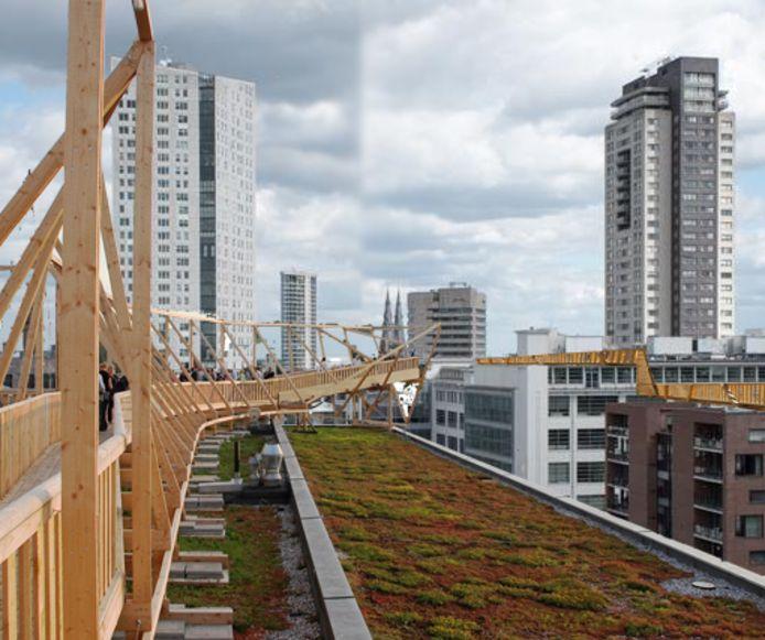 Jelle de Jongs plan Royal Rooftop Boardwalk over de daken van gebouw rond het Victoriapark in Eindhoven.