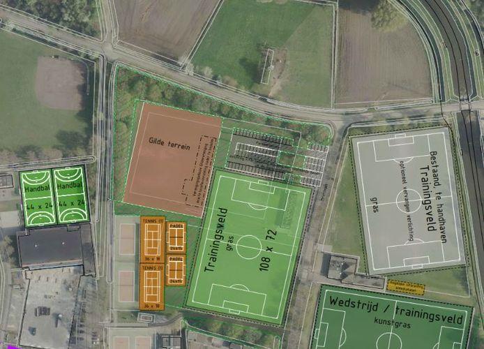 De nieuwe opzet van Sportpark Stokeind, zoals in 2019 gepresenteerd.