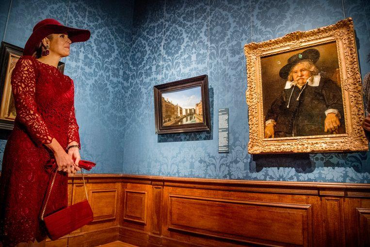 Koningin Máxima opent in het Mauritshuis de reizende tentoonstelling Tien topstukken on tour. Beeld ANP