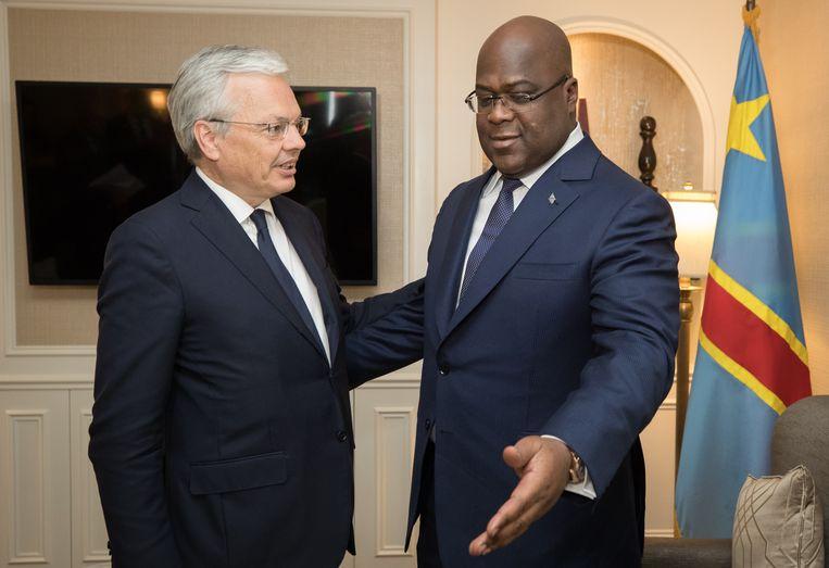Tshisekedi en vicepremier Didier Reynders tijdens een eerder bezoek. Beeld Belga