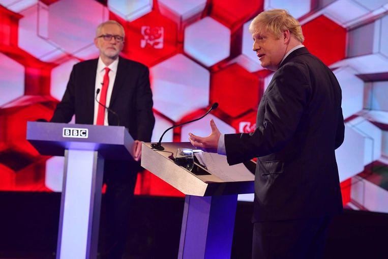 Een tv-debat tussen Johnson en Corbyn voor de parlementsverkiezingen afgelopen december. Ook deze verkiezingen zouden Russen hebben gepoogd te beïnvloeden. Beeld EPA
