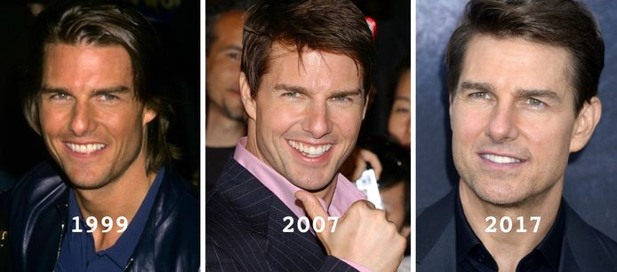 Acteur Tom Cruise door de jaren heen. Van links naar rechts, voor alle duidelijkheid.