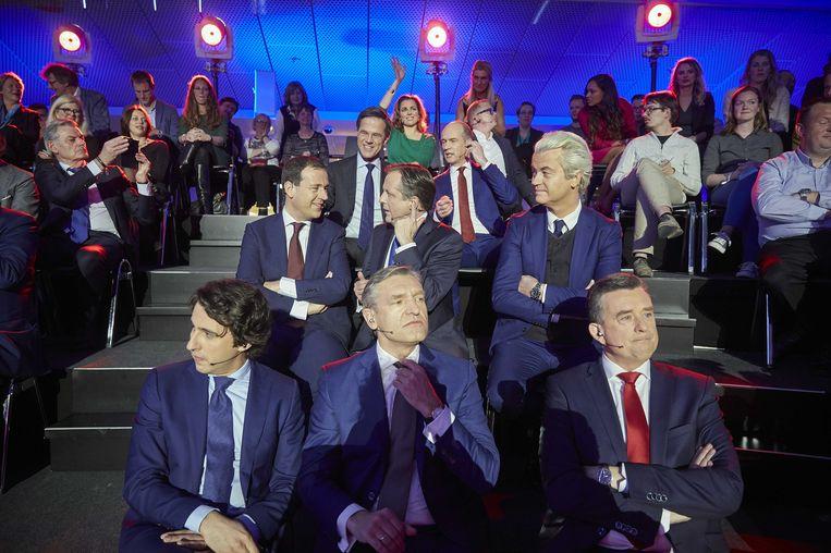 De verzamelde lijsttrekkers bij het slotdebat op 14 maart. Beeld anp