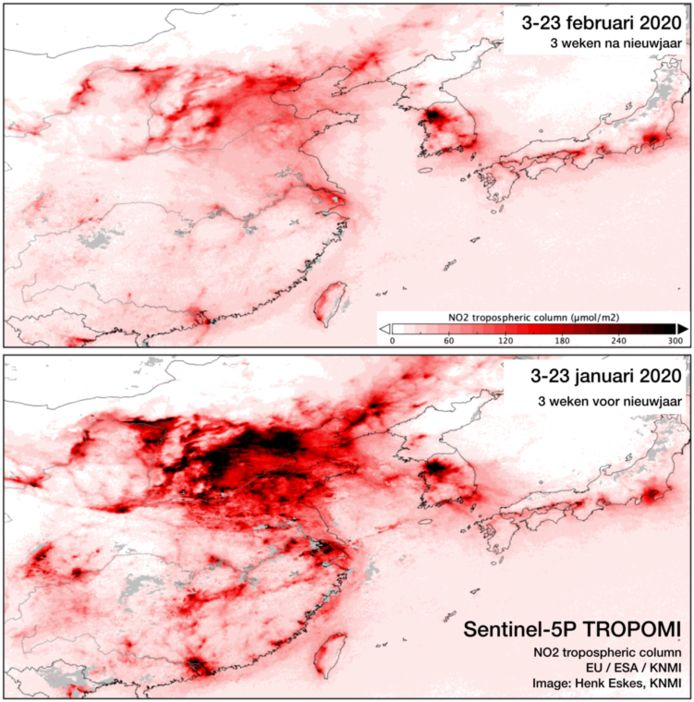 Stikstofdioxide boven China.