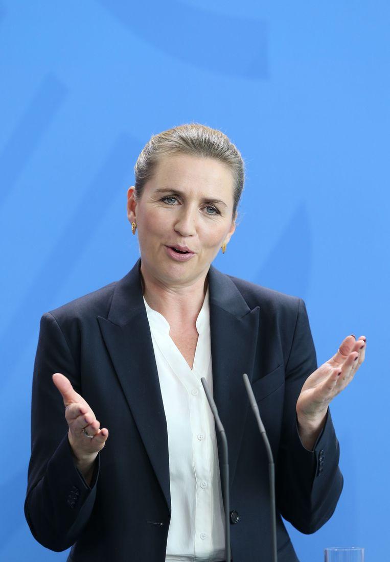 De Deense premier Mette Frederiksen spreekt op een persconferentie in Berlijn, 11 juli 2019.  Beeld Getty Images
