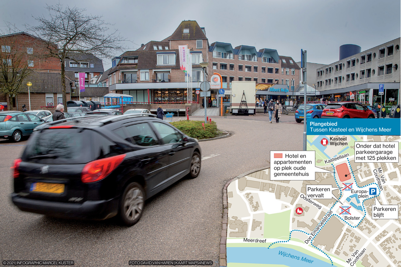 Het Europaplein met in de inzet de manier waarop het college het parkeren binnen Tussen Kasteel en Wijchens Meer wilde oplossen.