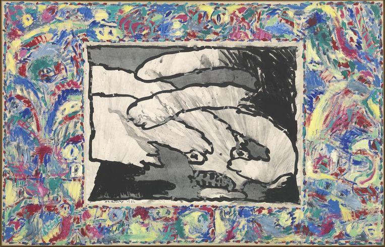 Werk van Pierre Alechinsky in het KMSK in Brussel.  Beeld Pierre Alechinsky