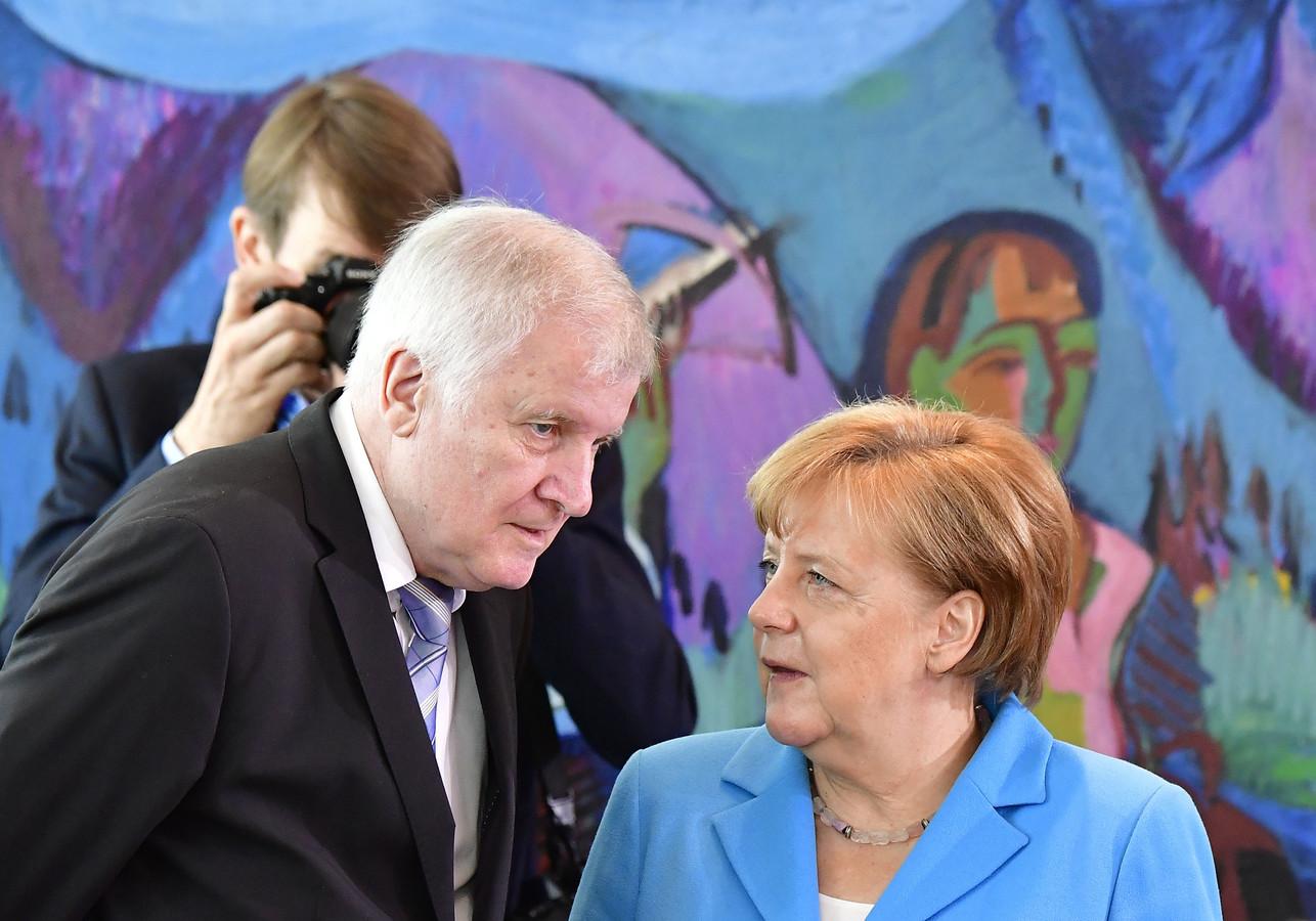 Angela Merkel en Horst Seehofer.