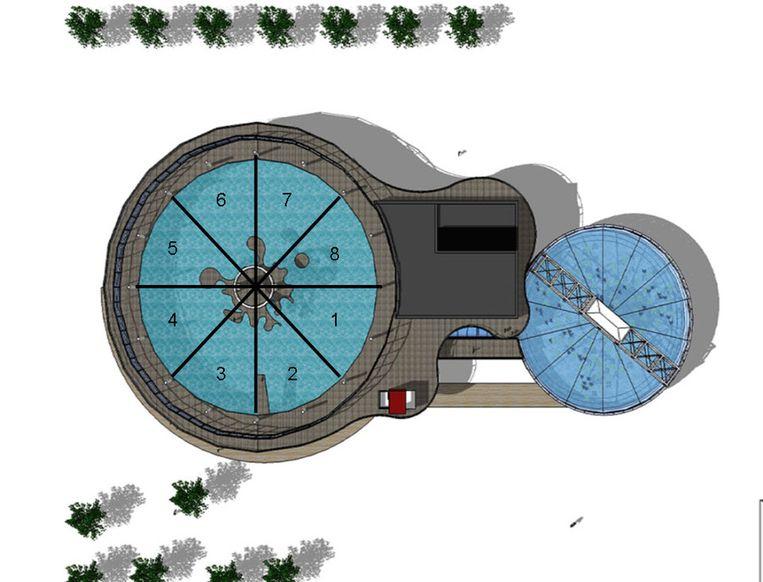 De tank wordt ingedeeld in verschillende zones, met telkens een ander thema fauna en flora.