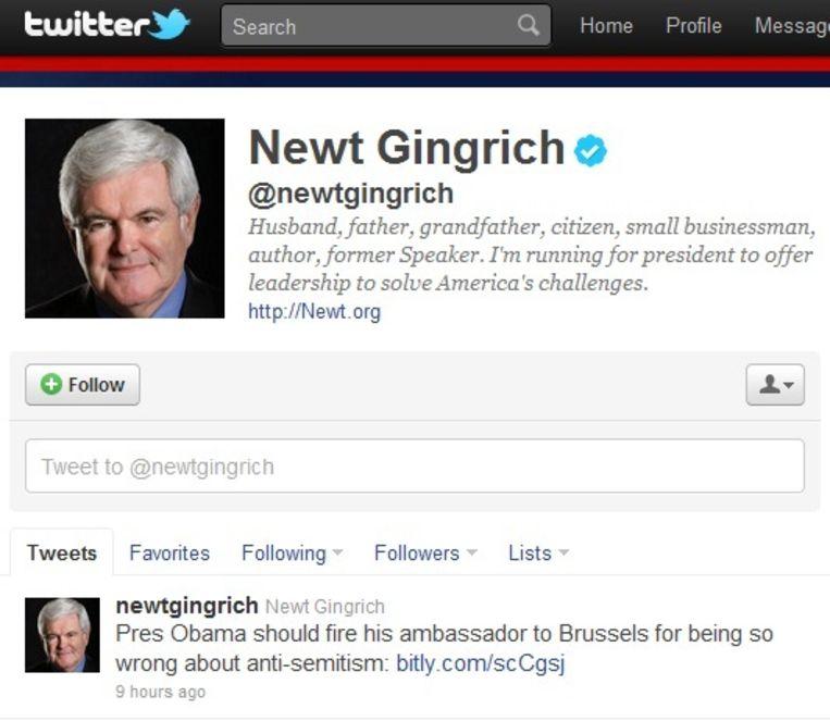 Republikeins presidentskandidaat Newt Gingrich haalde op twitter uit naar Obama-vertrouweling Gutman. Beeld UNKNOWN