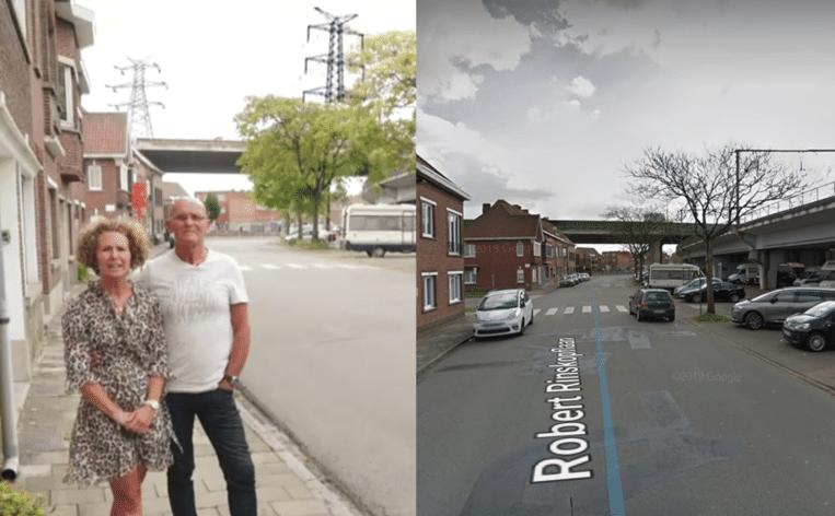 Links: de straat van Kaat en Gil in 'Huizenjagers' op VIER. Rechts: de werkelijke situatie op Google Street View, zonder hoogspanningsmasten. Beeld VIER
