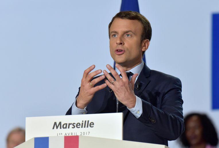 Presidentskandidaat Emmanuel Macron liep ook school bij de École Nationale d'Administration. Beeld REUTERS