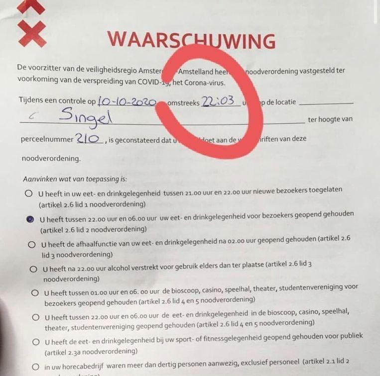 De officiële waarschuwing die restaurant Breda kreeg. Beeld Johanneke van Iwaarden, Instagram