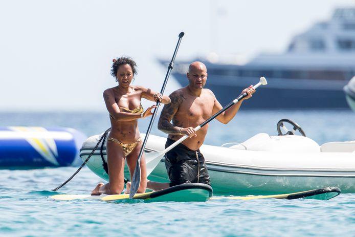 Mel B en Stephen op vakantie in Ibiza in 2016.