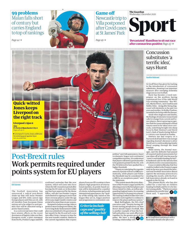 Cover sportkatern The Guardian