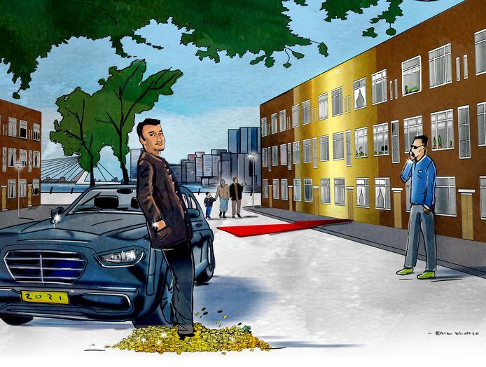 Jonge vastgoedondernemers investeren, pronkend met dure auto's, in de slechte wijken in en rond Rotterdam.