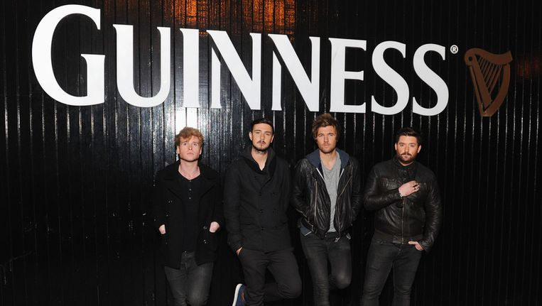 De band Kodaline voor de Guinness-brouwerij in Dublin. De band is één van de acts op Arthur's Day. Beeld GETTY
