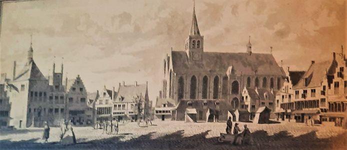 De Hof anno 1729 met rechts het pand van de Gaaper (nog met een andere gevel), direct links van de kerk het later afgebroken diaconiehuisje en  geheel links de drie panden van het stadhuis.