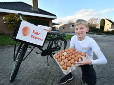 Op de Eggz Express door zijn eierwijk in Tubbergen, Luca (11) heeft zijn eigen business