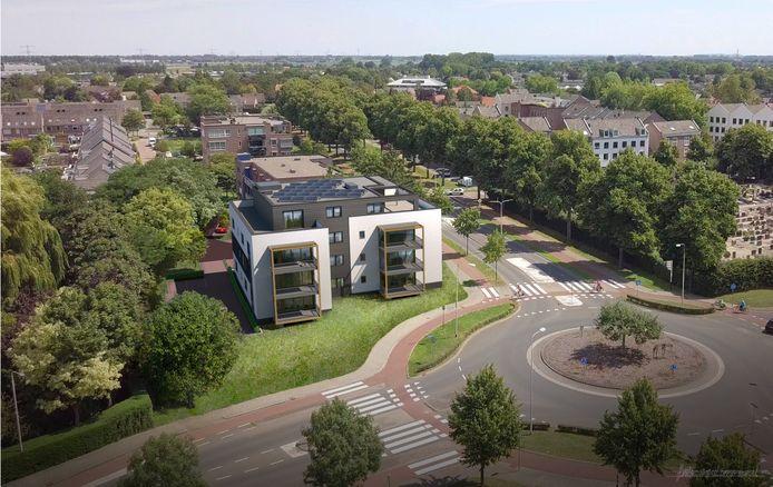 Impressie van het nieuwe appartementencomplex aan de rotonde Herckenrathweg/Loostraat, aan de rand van het Bemmelse centrum.