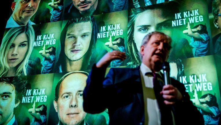 Burgemeester Eberhard van der Laan bij de presentatie van het rapport Beeld ANP