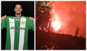Het standbeeld van Ibrahimovic in brand.