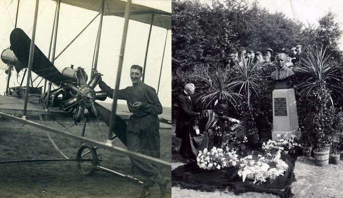 Links: Van Maasdijks monteur voor het toestel.  Rechts: Onthulling van het Van Maasdijk-monument aan de Waterbergseweg naast begraafplaats Moscowa in 1911.