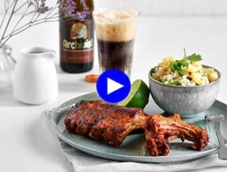 Ribbekes new style: gemarineerd in bier, met een exotisch slaatje