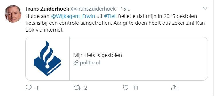Tweet van Frans Zuiderhoek over zijn teruggevonden fiets.