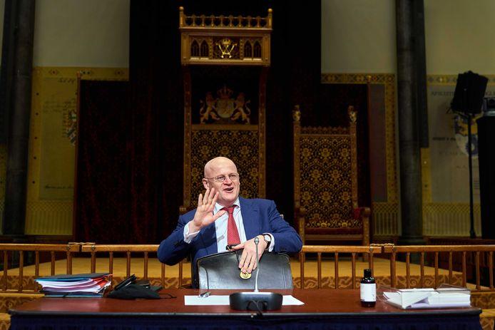 Demissionair minister Ferdinand Grapperhaus (Justitie en Veiligheid) tijdens de plenaire zitting in de Eerste Kamer.