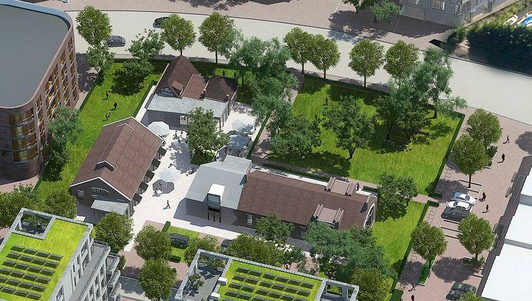 Het hart van Cruquius staat nu wat ontheemd op het bouwterrein: dat is het witte Huisje Insulinde, dat een eeuw geleden nog het hoofdkantoor was van de NV Oliefabrieken. Beeld -