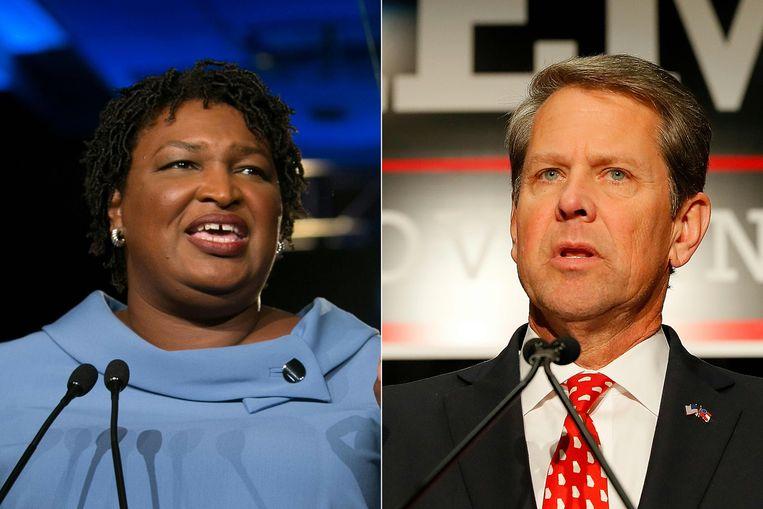 Stacey Abrams (links) en Brian Kemp bestrijden elkaar nog om het gouverneurschap van Georgia. Beeld AFP