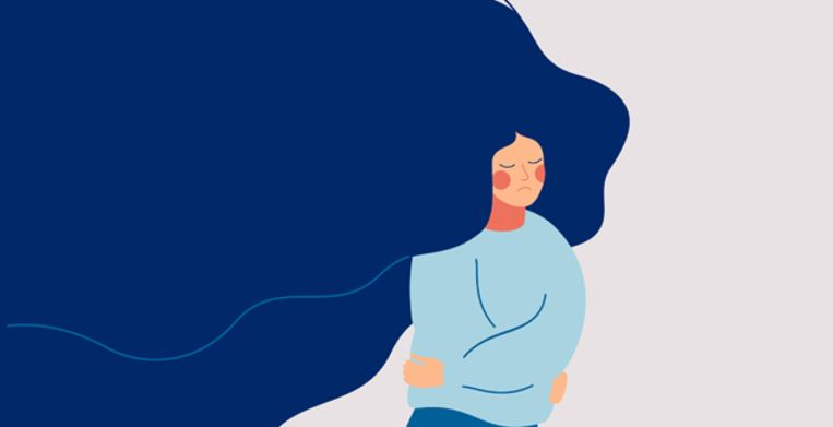 A sad woman with flowing hair runs away from the problems in her life. The depressed teenager withdrew into himself, hugging his elbows. Colorful vector illustration in flat cartoon style Beeld Getty Images/iStockphoto
