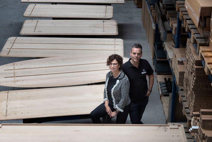 Chantal en Marc de Bie, van Van Tafel in de werkplaats.