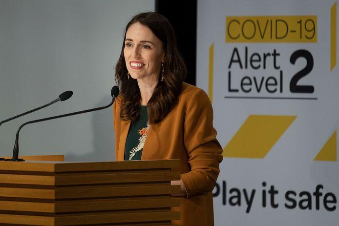 Archiefbeeld. De Nieuw-Zeelandse premier Jacinda Ardern geeft een persconferentie over de stand van zaken in de strijd tegen de coronapandemie. (08/06/2020)