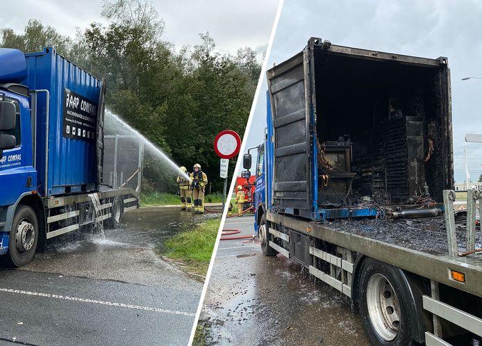 De schade aan de vrachtwagen is groot.
