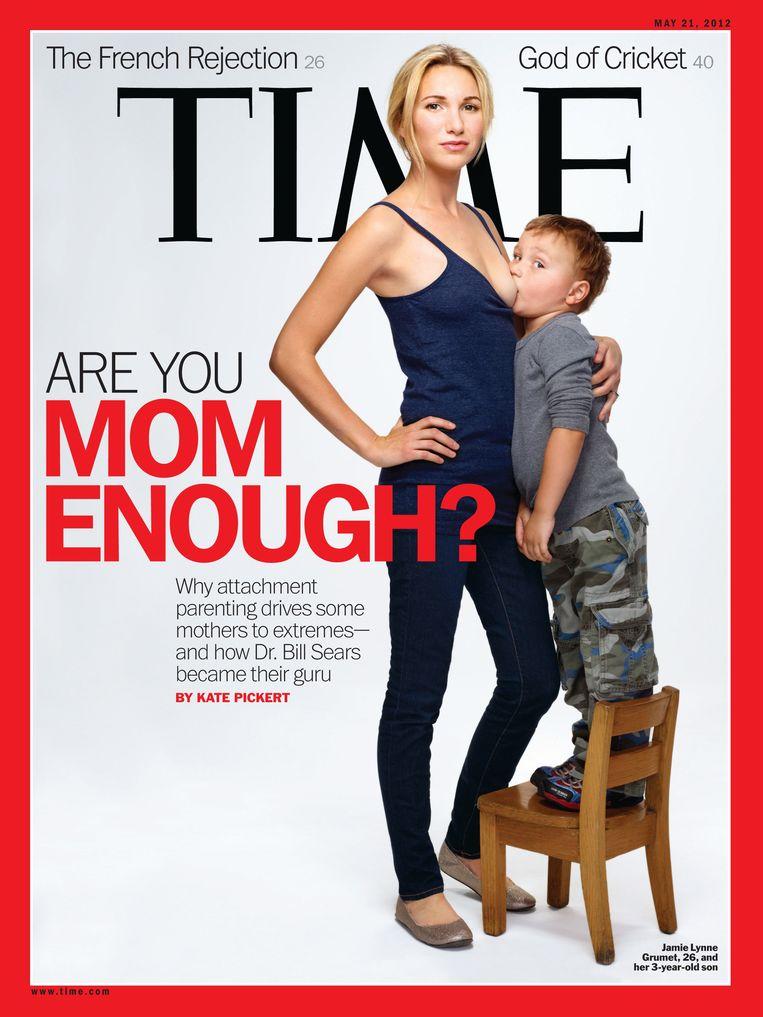 Het Amerikaanse tijdschrift TIME publiceerde in 2012 deze controversiële cover.  TIME wou de discussie openen over borstvoeding bij grotere kinderen.