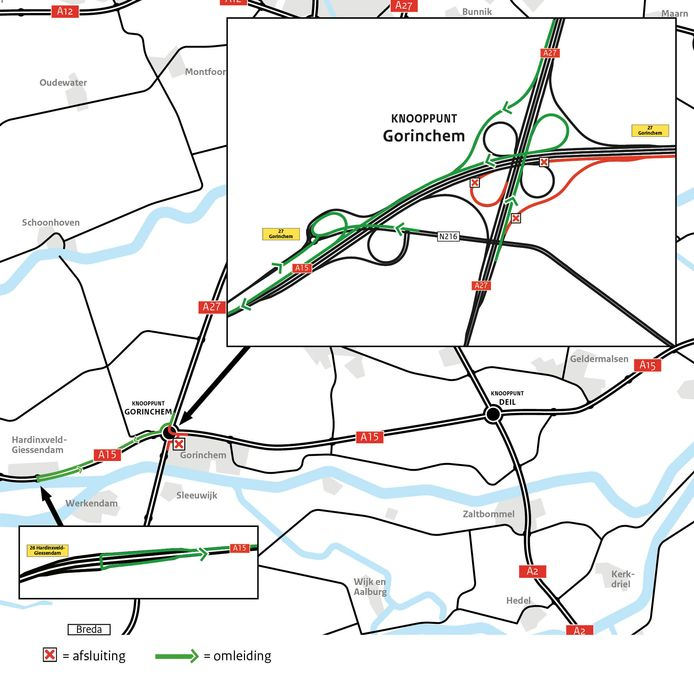 Verkeer richting Nijmegen moet komend weekend omrijden.