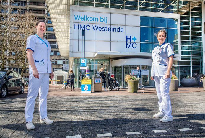 Annelies Hulsker en Saskia van Tol, verpleegkundigen gespecialiseerd in zorg van aanstaande moeders en kinderen, hebben al proef gedraaid in het nieuwe Moeder- en Kind Centrum dat nu bij HMC Westeinde wordt gebouwd. 'Het werkt goed'.