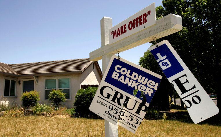 Een huis in Stockton, California  aan het begin van de crisis in 2008 Beeld REUTERS