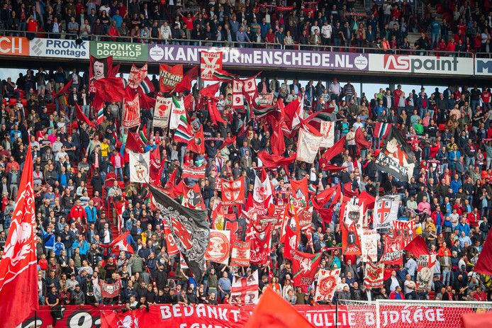 Supporters of FC Twente showing banners before the match Twente - TOP Oss.