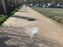 Stoepkrijt voor de hoofdingang van het ETZ in Tilburg. Het zorgpersoneel kreeg veel waardering tijdens de coronacrisis.