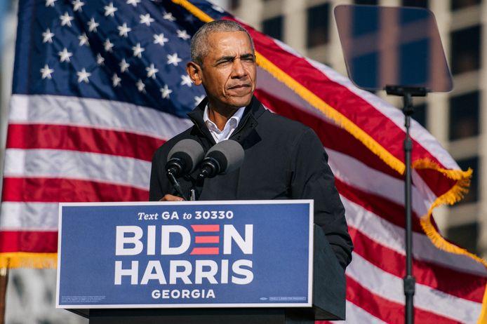 De Amerikaanse president Barack Obama tijdens een campagne voor nu president-elect Joe Biden en vicepresident-elect Kamala Harris.