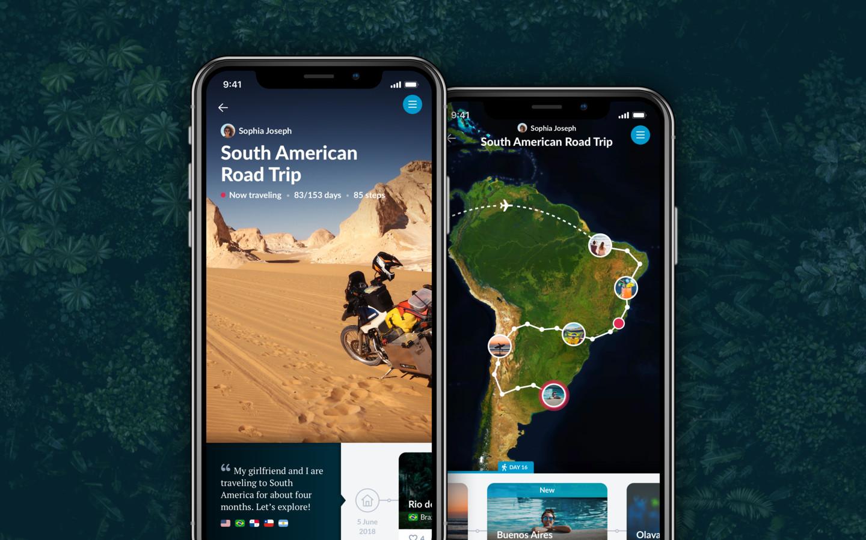 De app Polarsteps in gebruik op een iPhone