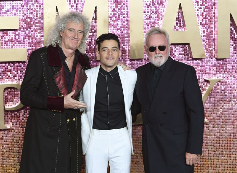 Gitarist Brian May, acteur Rami Malek en drummer Roger Taylor.