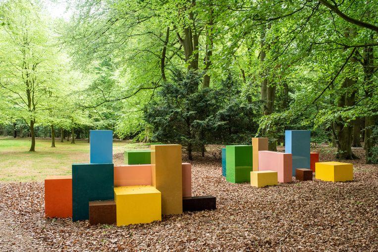 'Imagine you can order these, I & II'  is de speelse titel van dit werk uit 1994-1995 van de Britse kunstenaar Julian Opie. De felle tinten contrasteren met de natuurlijke omgeving. Er staan hier twee identieke groepen met blokken, maar ze zijn anders gerangschikt. Dat nodigt uit om te gaan vergelijken en associëren. Is het een skyline van een stad? Beeld Simon Lenskens
