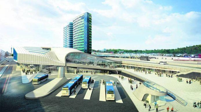 Een impressie van het Arnhemse station. Zo moet het er in 2015 uit zien. Illustratie UNStudio
