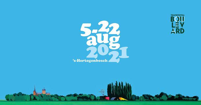 Het campagnebeeld van Theaterfestival Boulevard 2021, gebaseerd op een kunstwerk van de Rotterdammer Jeroen Allart. Karin Jonkers tekende voor de grafische vormgeving.